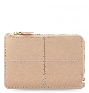 Classic Stitch Soft Zip Card Holder Peach
